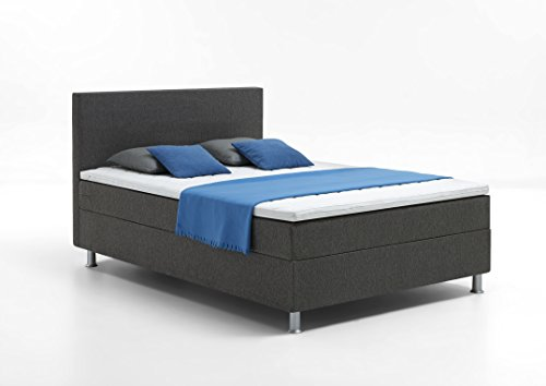 Atlantic Home Collection EDISON Boxspringbett, 140 x 200 cm, Härtegrad H2, inklusive Topper, grau - 3