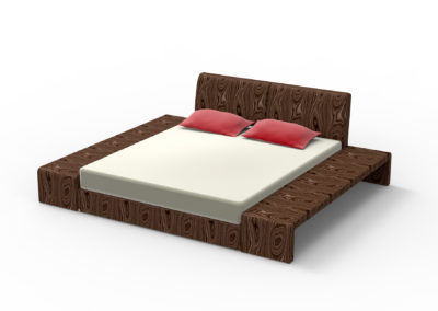 king sized bed made of wood isolated